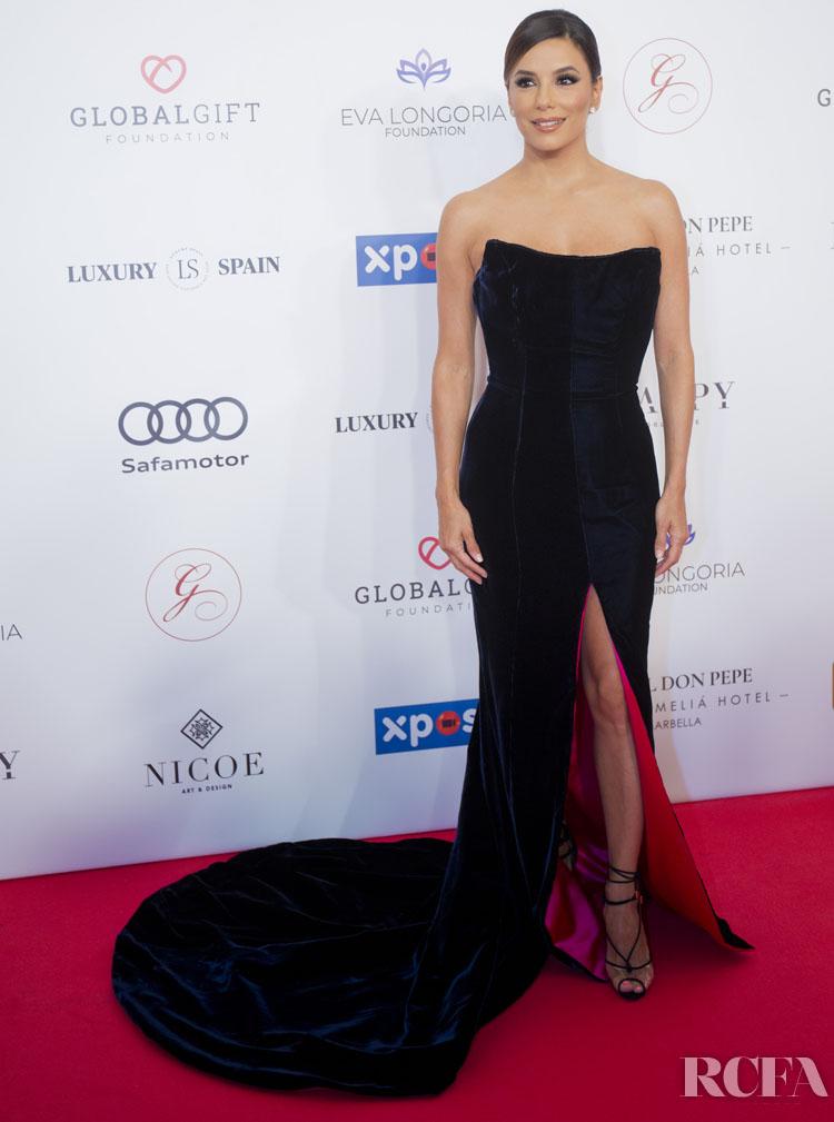 Eva Longoria Opts For Velvet Etro For The Global Gift Gala Marbella 2019