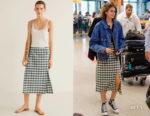 Kaia Gerber's Mango Gingham Skirt