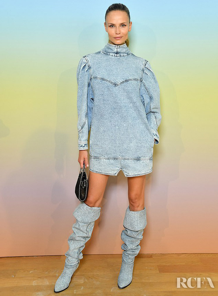 Natasha Poly's New Take On Double Denim For The Bonpoint Show in Isabel Marant