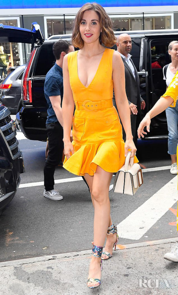 Alison Brie Zimmermann Yellow Dress Good Morning America