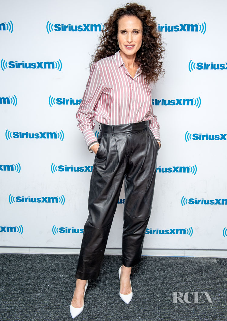 Andie Macdowell's Menswear Inspired Look For  Sirius XM