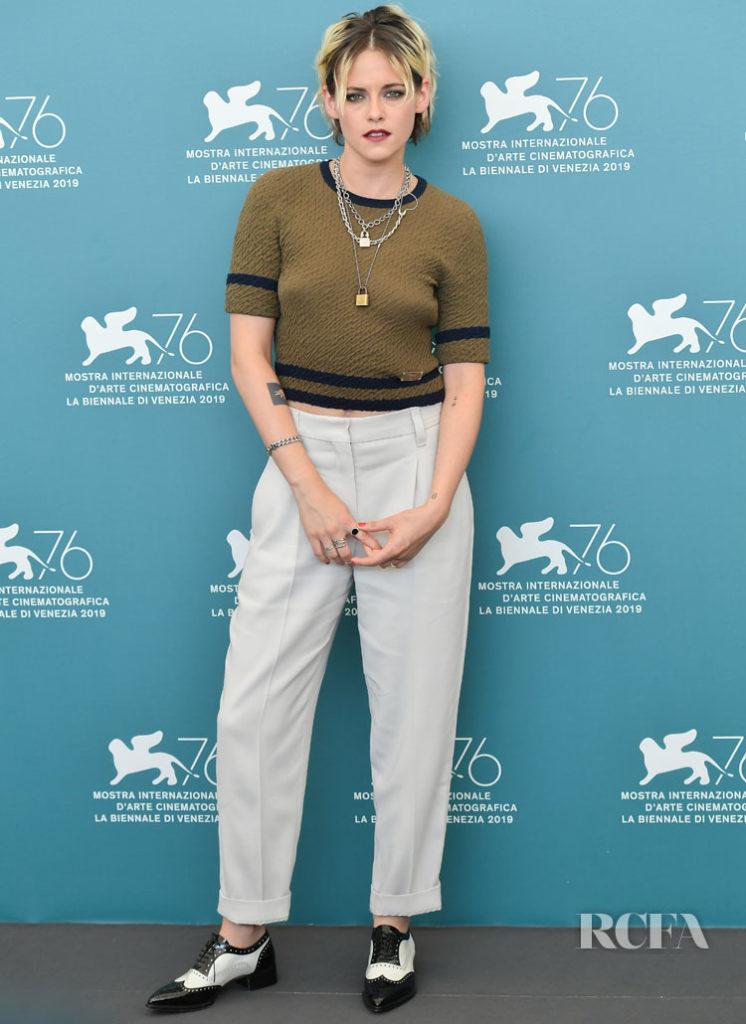 Kristen Stewart In Chanel & Brunello Cucinelli - 'Seberg' Venice Film Festival Photocall