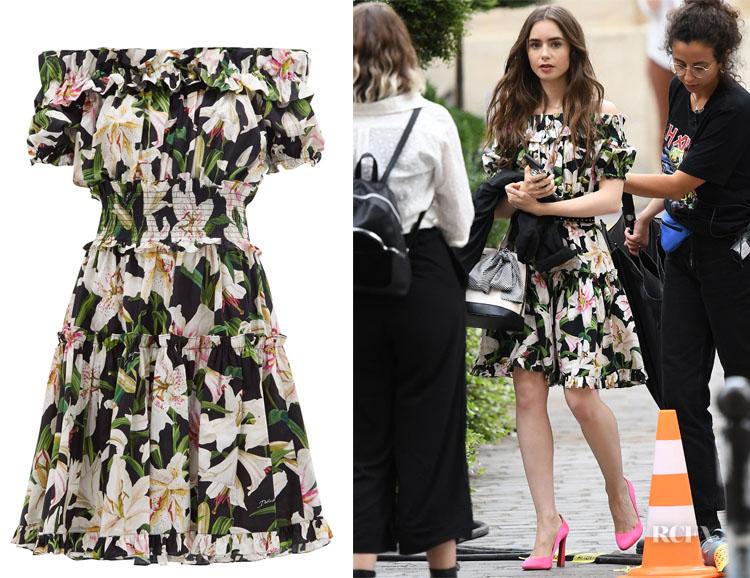 Lily Collins' Dolce & Gabbana Ruffle Lily Print Dress