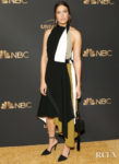 Mandy Moore Rocks An Asymmetric Colour-Block Frock For The NBC And Universal EMMY Nominee Celebration