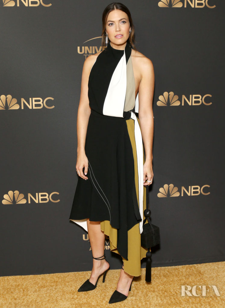 Mandy Moore Rocks An Asymmetrical Colour-Block Frock For The NBC And Universal EMMY Nominee Celebration