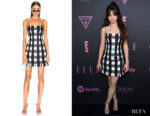 Camila Cabello's Rasario Checked Satin Mini Dress