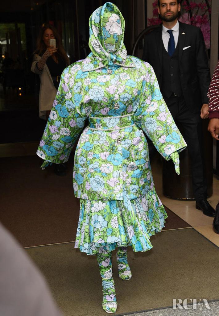 Cardi B Rocks Head-To-Toe Floral Richard Quinn For Paris Fashion Week