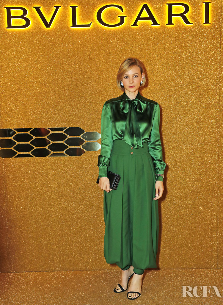 Carey Mulligan's Gucci Green Look For The Bvlgari Serpenti Seduttori Launch Event