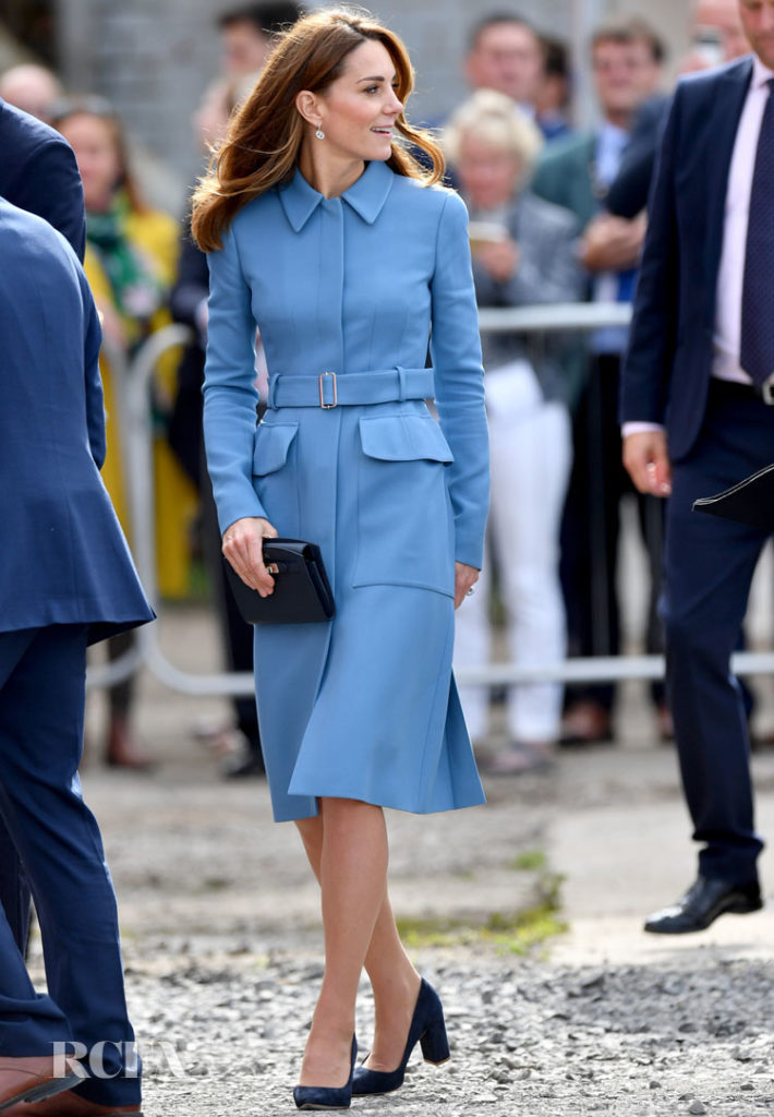 Catherine, Duchess Of Cambridge Dons Her First Coat Dress For Fall For The Naming Ceremony For The RSS Sir David Attenborough