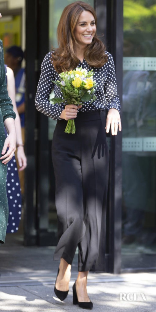 Catherine, Duchess of Cambridge's Polka Dots & Palazzo Pants For A Children's Centre Visit