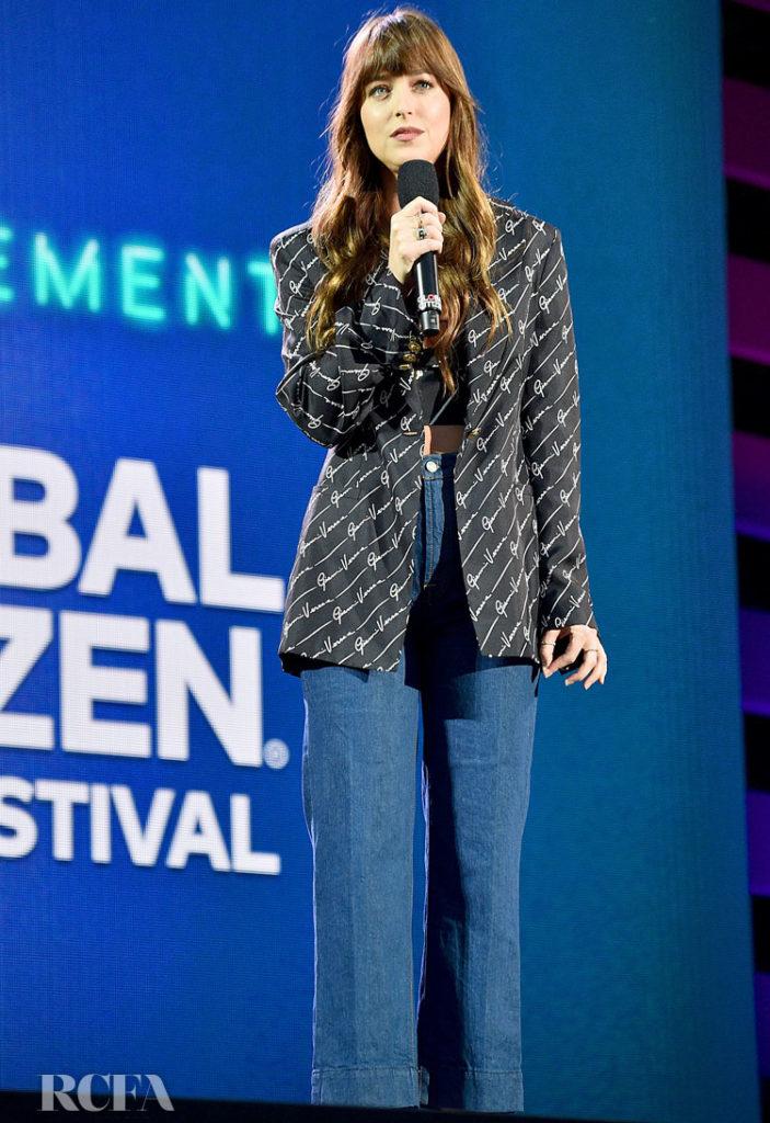 Dakota Johnson's Gianni Versace Logo Look For The 2019 Global Citizen Festival: Power The Movement