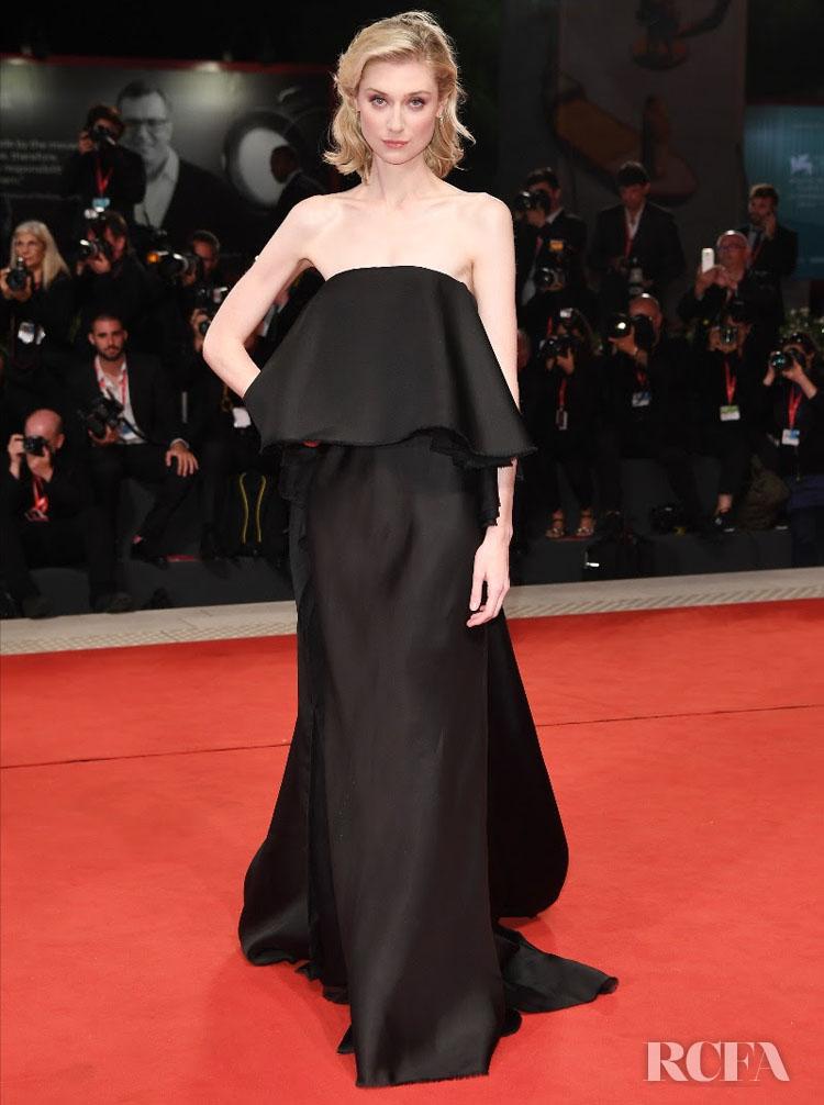 Elizabeth Debicki In Schiaparelli Haute Couture  - 'The Burnt Orange Heresy' Venice Film Festival  Premiere