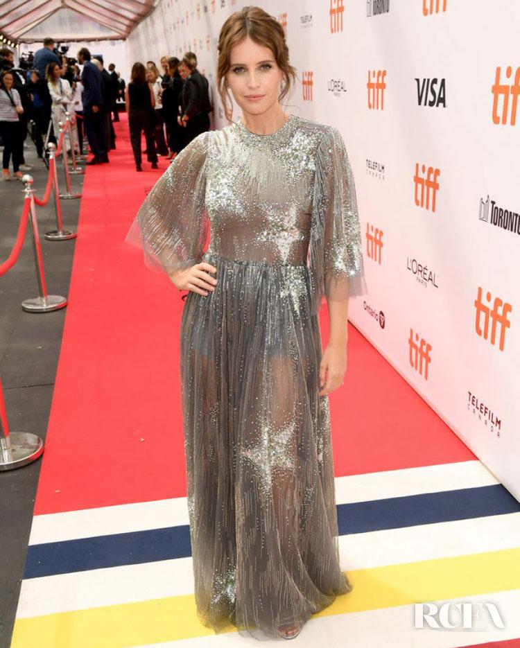 Felicity Jones In Valentino - 'The Aeronauts' Toronto Film Festival Premiere