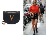Irina Shayk's Versace Black Virtus Leather Crossbody Bag