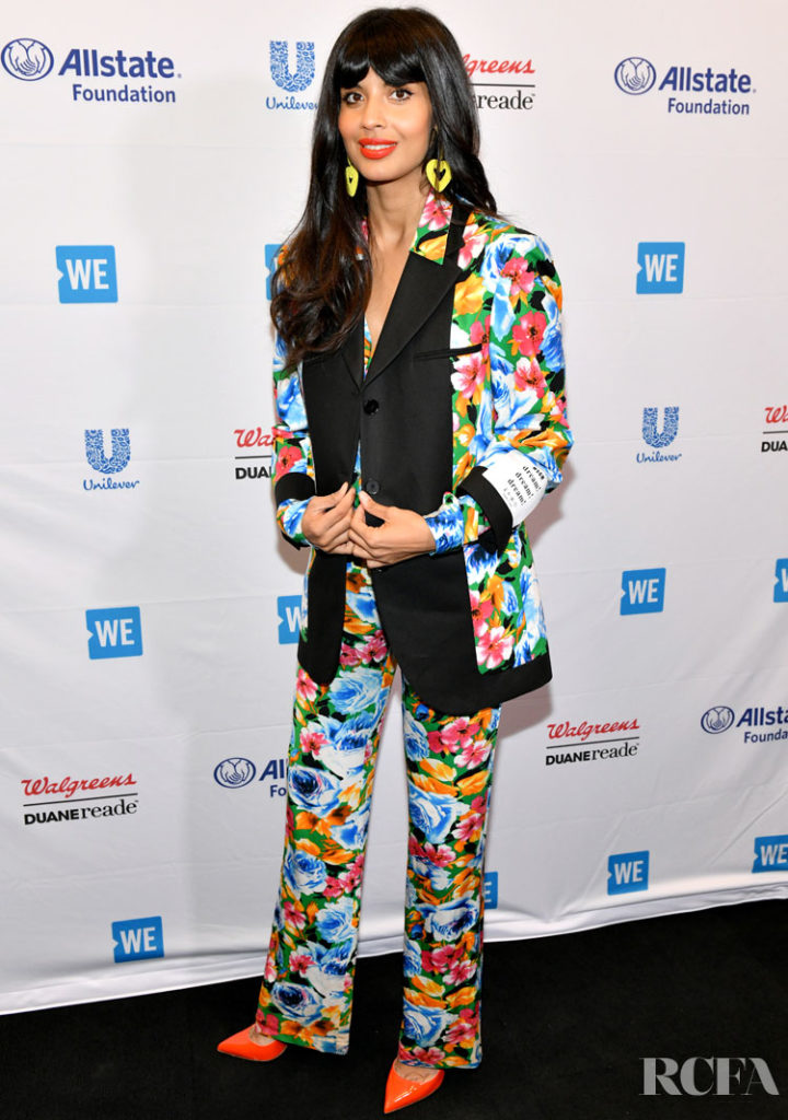 Jameela Jamil's Floral MSGM Suit For WE Day UN 2019