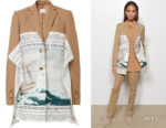 Joan Smalls' Burberry Mariner Print Scarf Detail Wool Blend Tailored Jacket