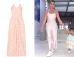 Khloe Kardashian's Ganni Floral Satin Maxi Dress
