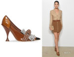Lily Aldridge's Burberry Kiltie Crystal Fringe Pumps