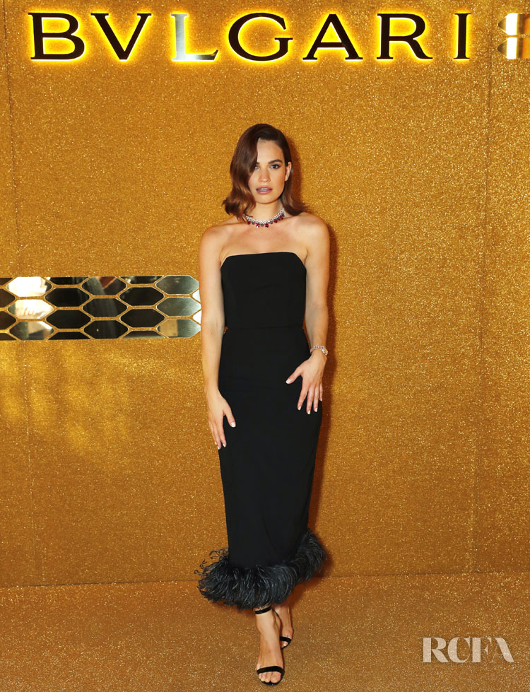 Lily James' LBD For The Bvlgari Serpenti Seduttori Launch Event