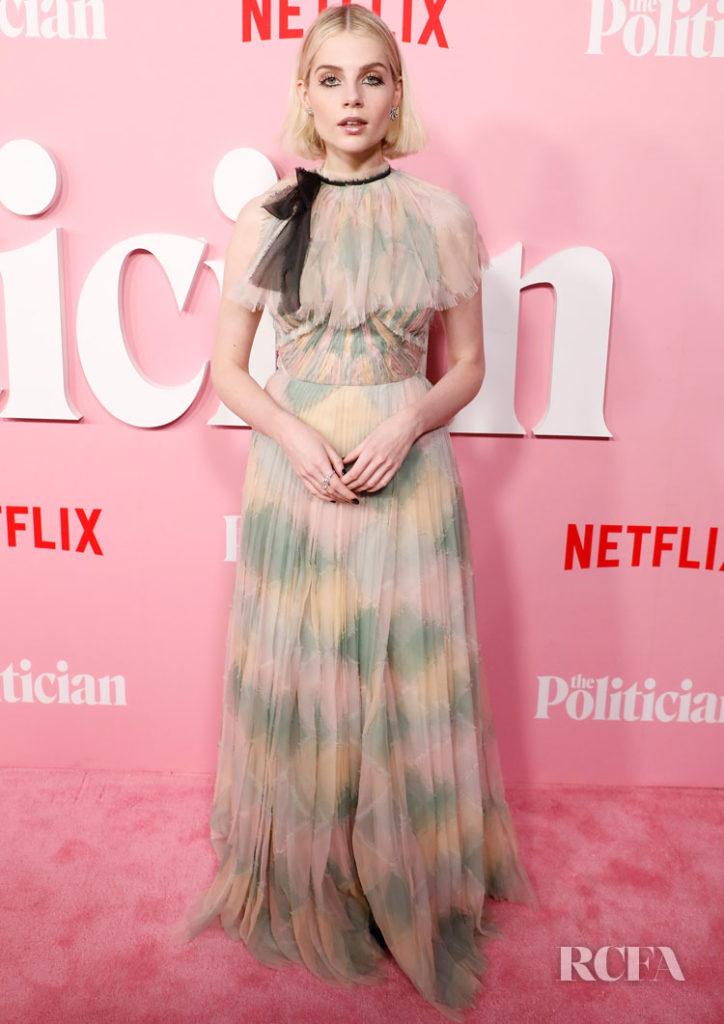 Lucy Boynton's Haute Harlequin Couture For 'The Politician' New York Premiere