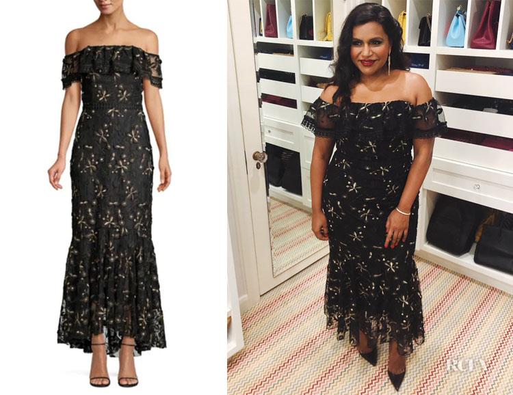 Mindy Kaling S Shoshanna Metallic Floral Dress Red Carpet Fashion Awards
