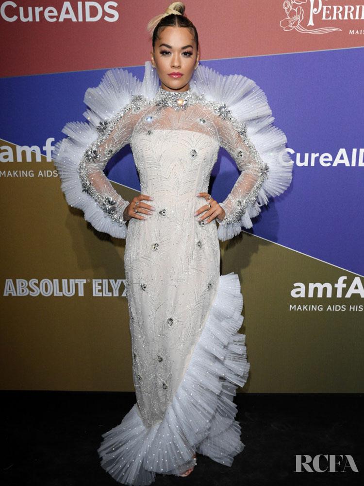 Rita Ora Sparkles Head To Toe In Prada At The amfAR Milan Gala