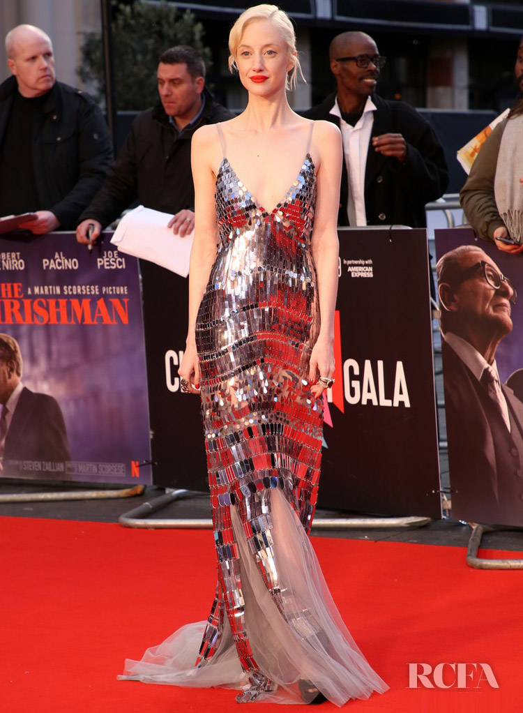 Andrea Riseborough Sparkles On The Red Carpet For 'The Irishman' London Film Festival Premiere