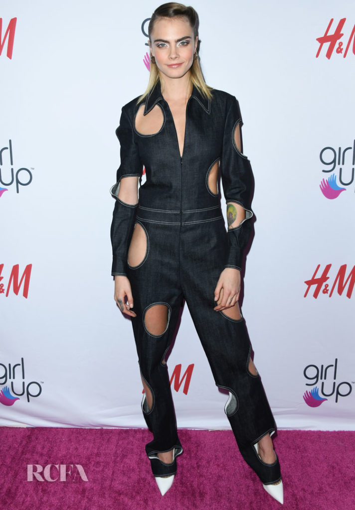 Cara Delevingne Dons A Unique Cut-Out Jumpsuit For The 2nd Annual Girl Up #GirlHero Awards