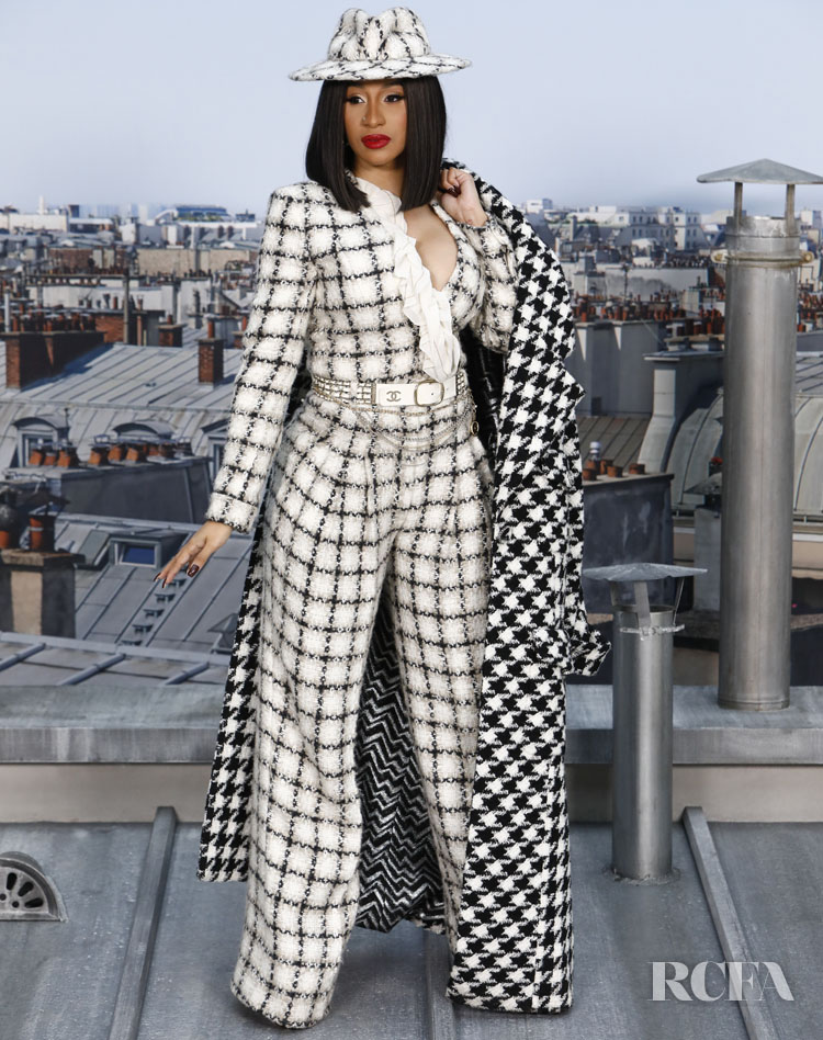 Cardi B's Take On Tweed For Chanel Spring 2020 Paris Fashion Week Show
