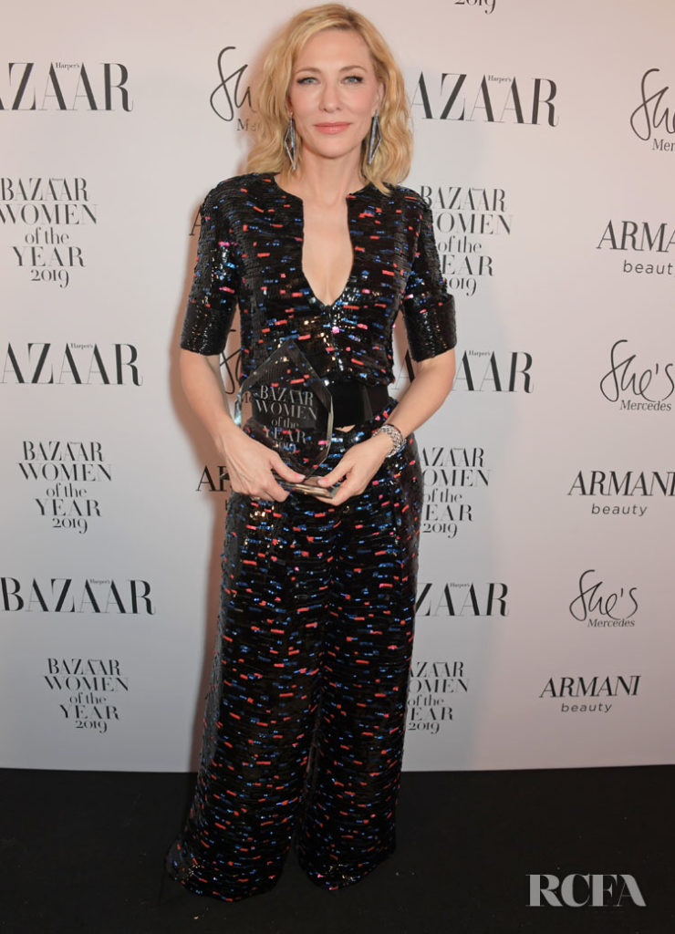 Cate Blanchett Repeats Her Armani Prive Jumpsuit For The 2019 Harper's Bazaar Women of the Year Awards