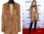 Cheryl Cole's Attico Velvet Trimmed Embellished Dress