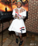 Cynthia Erivo Rocks Thom Browne's Signature Tricolour Style For The 'Harriet' New York Screening