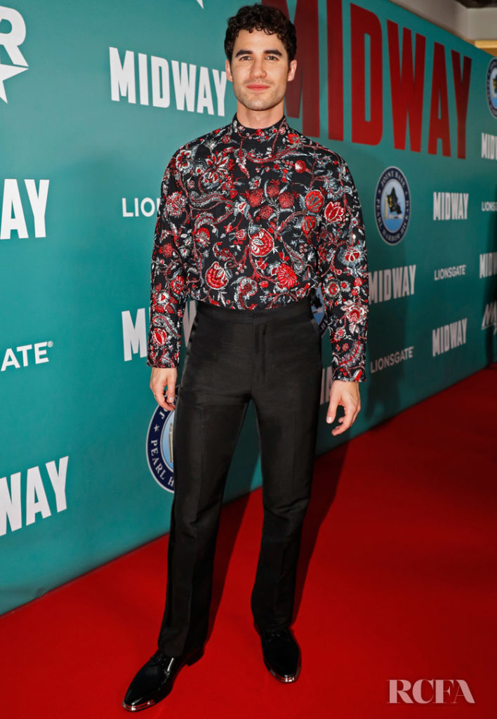 Darren Criss Swaps An Aloha Shirt For Givenchy Haute Couture At The 'Midway' Honolulu Screening