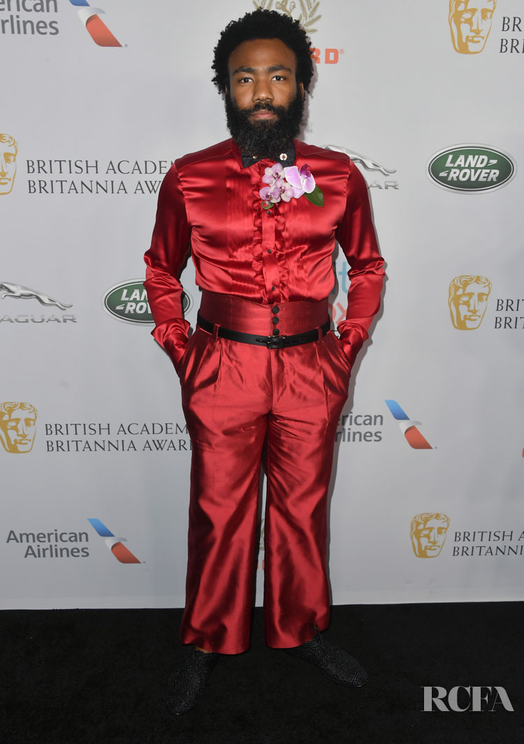 Donald Glover Wore Dolce Gabbana To The 2019 British Academy Britannia Awards Red Carpet Fashion Awards