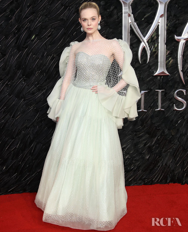 Elle Fanning's Disney Fairytale Armani Prive Gown For The 'Maleficent: Mistress of Evil' London Premiere