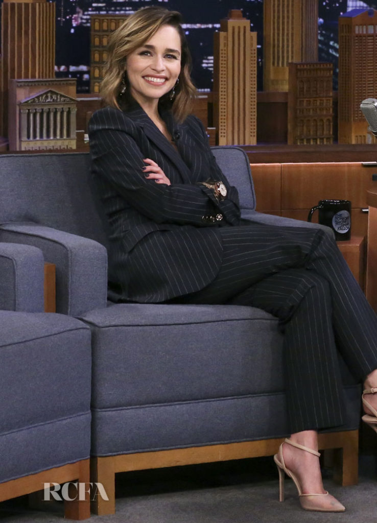 Emilia Clarke Earns Her Pinstripes In Dolce & Gabbana On The Tonight Show Starring Jimmy Fallon