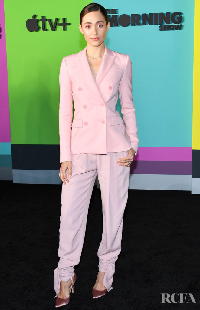 Emmy Rossum Pretty Pink Suit For Apple TV+'s 'The Morning Show' World Premiere