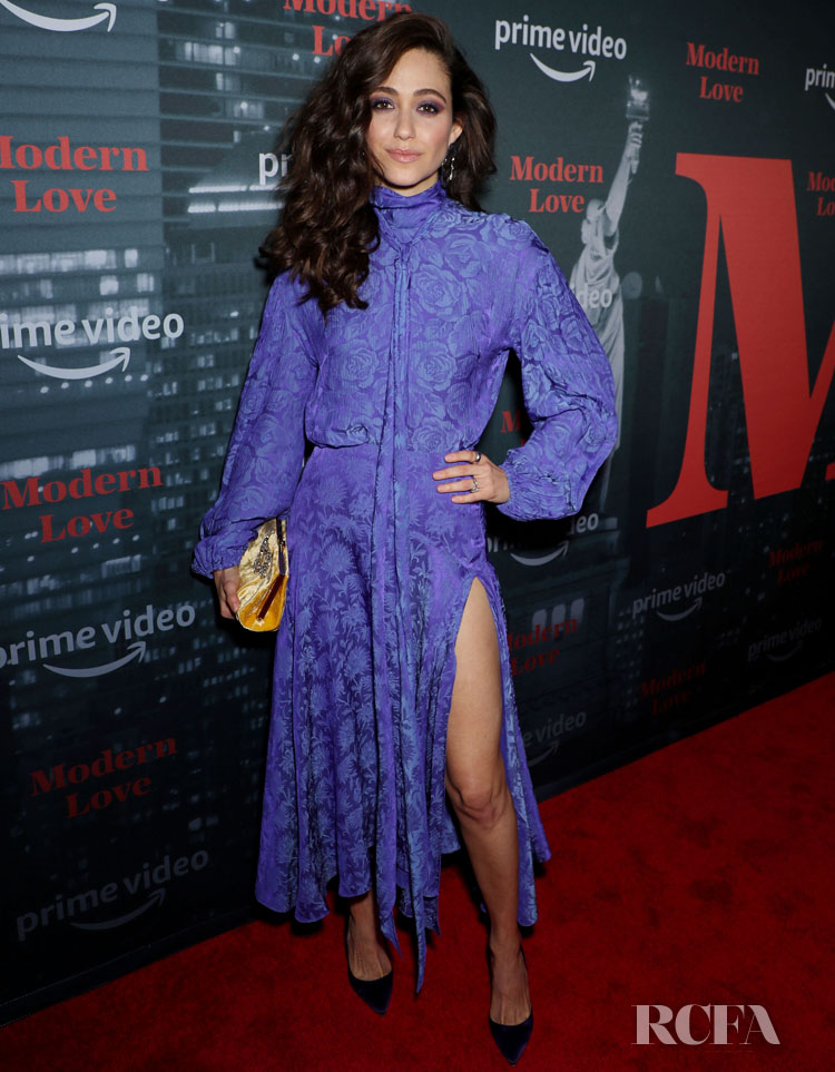 Emmy Rossum Is Perfect In Purple For Amazon's 'Museum Of Modern Love' LA Premiere