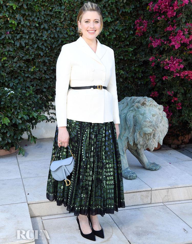 Greta Gerwig In Christian Dior - Honorary Oscar Lina Wertmuller's Celebration Lunch