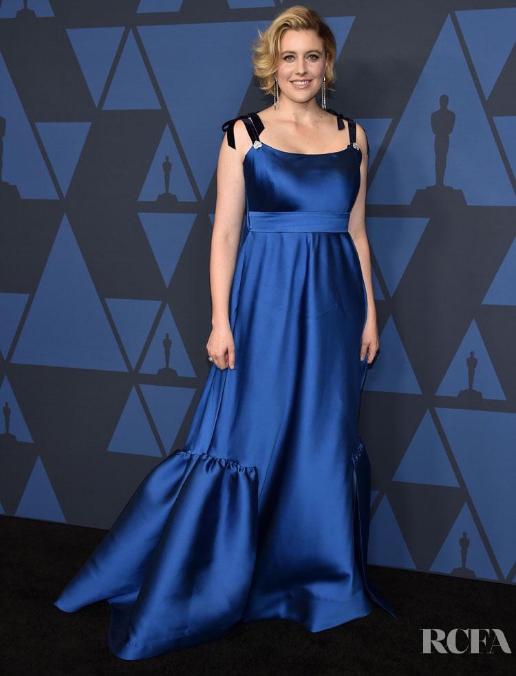 Greta Gerwig In Lela Rose - 2019 Governors Awards