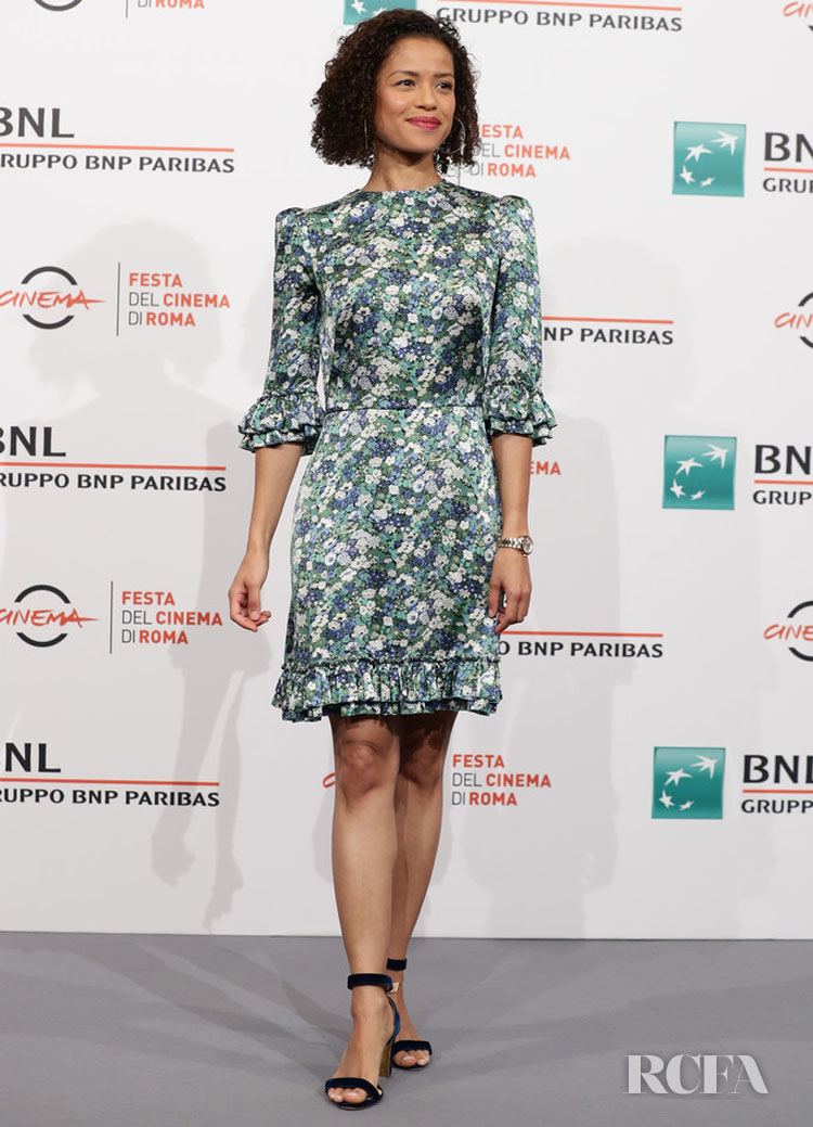 Gugu Mbatha-Raw's Flirty Floral Frock For The 'Motherless Brooklyn' Rome Film Festival Photocall