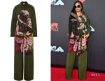 H.E.R.'s Valentino Green Printed Silk-Georgette Jumpsuit