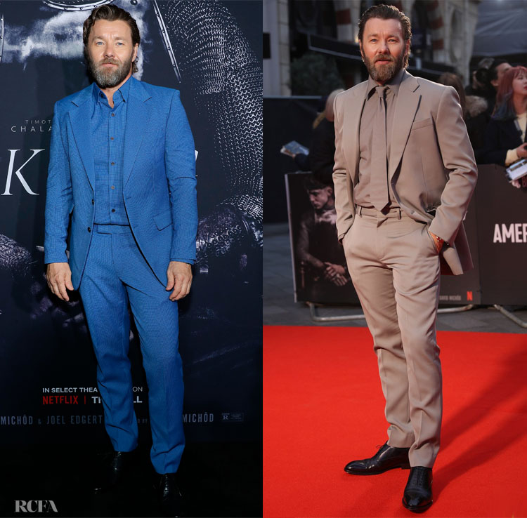 Joel Edgerton's Monochromatic Moments In Dzojchen & Louis Vuitton For 'The King' New York & London Premiere