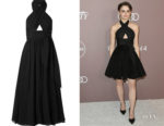 Joey King's Alaia Cut-Out Silk-Chiffon Halterneck Midi Dress