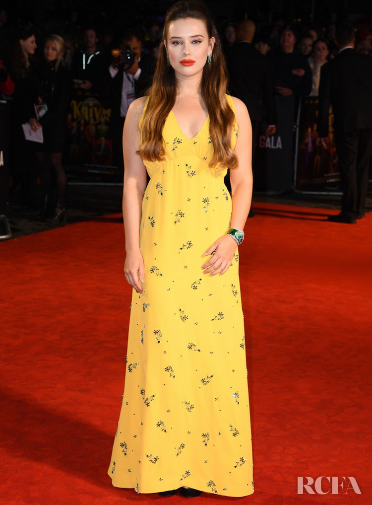 Katherine Langford Brings Some Sunshine To The London Film Festival Premiere of 'Knives Out' In Prada