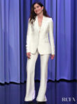 Kathryn Hahn's Bright White Gabriela Hearst Suit For The Tonight Show Starring Jimmy Fallon