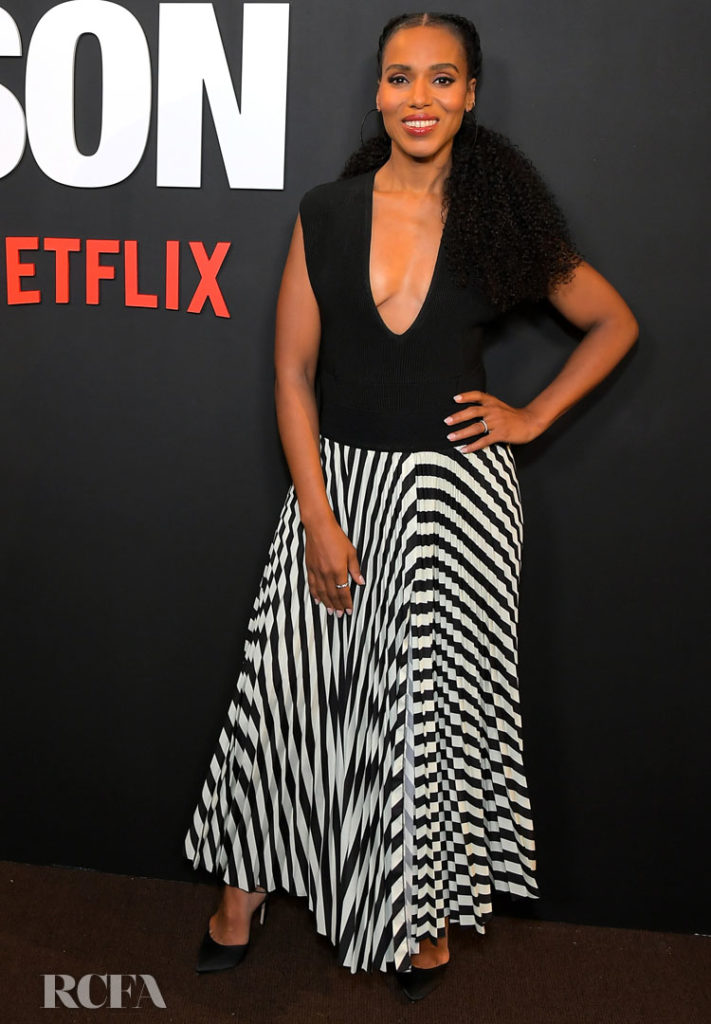 Kerry Washington Keeps Things Classic In Black White For The American Son La Screening Red Carpet Fashion Awards