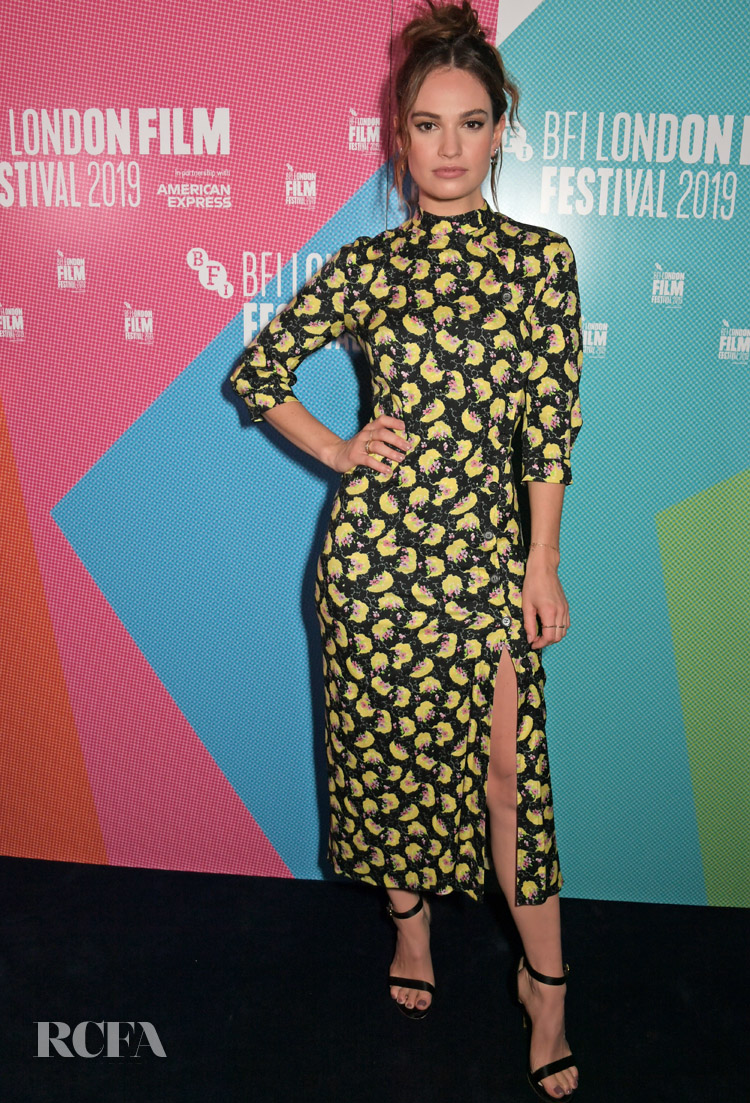 Lily James' Spring Bouquet Of Flowers Lights Up The 'Rare Beasts' London Film Festival Premiere