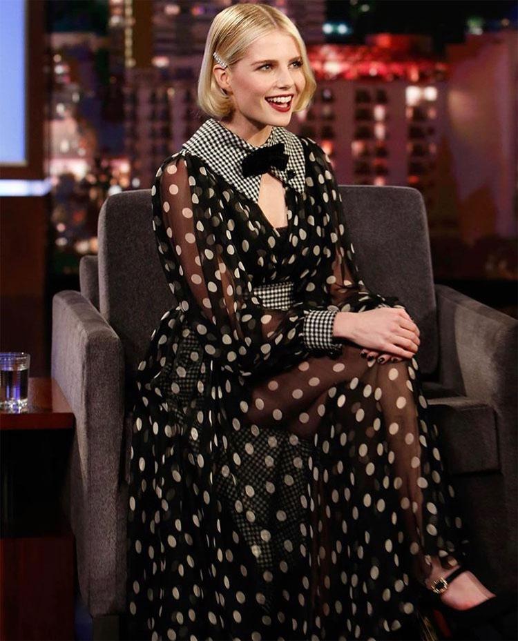 Lucy Boynton Mixes Dolce & Gabbana Polka Dots & Gingham On Jimmy Kimmel Live!
