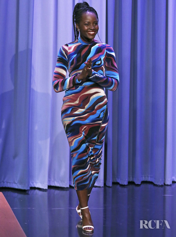 Lupita Nyong'o Makes A Colour Return In Roberto Cavalli For The Tonight Show Starring Jimmy Fallon